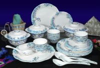 Machi Azure Flower Pack Of 35 Dinner Set (Melamine)