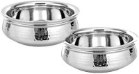 King Traders TULSI - Stainless Steel Serving Handi/Designer Serveware Set Of 2 Pcs Small And Medium With Dimension (20 Cm +17.5 Cm) Dinner Set (Copper)