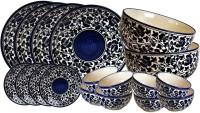 Craftghar Blue Pottery, Ceramic Pack Of 18 Dinner Set (Ceramic)