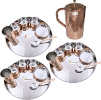 Prisha India Craft Indian Traditional Dinnerware Stainless Steel Copperware Thali ,Set Of 3 - Diameter 13 Inch - Diwali Gift Pack Of 22 Dinner Set (Copper) - DNSEG7TYFBT7AXAH
