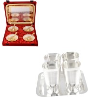 Silver Wilver Silver Plated Bowl Set Glass Set Pooja Plate And Articles Dealer Silver Wilver Silver & Gold Plated 4 Heavy Flower Bowl And Square Met Finish Glass Set Pack Of 14 Dinner Set (Silver Plated)