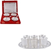 Silver Wilver 4 Flower Bowl And Juli Diamond Glass Set Pack Of 16 Dinner Set (Silver Plated)