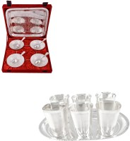 Silver Wilver 6 Cup Plate And Manchurian Bowl Set With Spoons Pack Of 22 Dinner Set (Silver Plated)