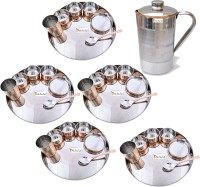 Prisha India Craft Indian Traditional Dinnerware Stainless Steel Copperware Thali ,Set Of 5 - Diameter 13 Inch - Diwali Gift Pack Of 36 Dinner Set (Copper) - DNSEG7TSNKZ8VYH4