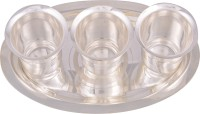 Jaipur Trade Silver Plated 3 Pyla Glass With Tray Pack Of 4 Dinner Set (Silver Plated)