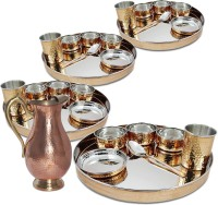 Dungri India Craft Stainless Steel Copper Traditional Dinner Set Of 4,Thali Plate, Bowls, Glass And Spoon (Dia 13 Inch) With 1 Embosed Pitcher Jug Pack Of 29 Dinner Set (Copper)