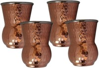 King Traders TULSI - Double Metal Walled Round Bottom Copper Glass/ Outside Copper Inside Steel- Set Of 4 Dinner Set (Copper)