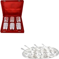 Silver Wilver 6 Glass And Manchurian Bowl Set With Spoons Pack Of 19 Dinner Set (Silver Plated)