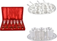 Silver Wilver 6 Queen Vine Glass, Manchurian Bowl And Juli Diamond Glass Set Pack Of 26 Dinner Set (Silver Plated)