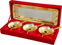Odna Bichona Silver And Gold Plated Heart Shape Brass Bowl Pack Of 7 Dinner Set (Brass)