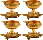 Hashcart Handmade Indian Puja Oil Lamp Engraved Design With Turtle Base