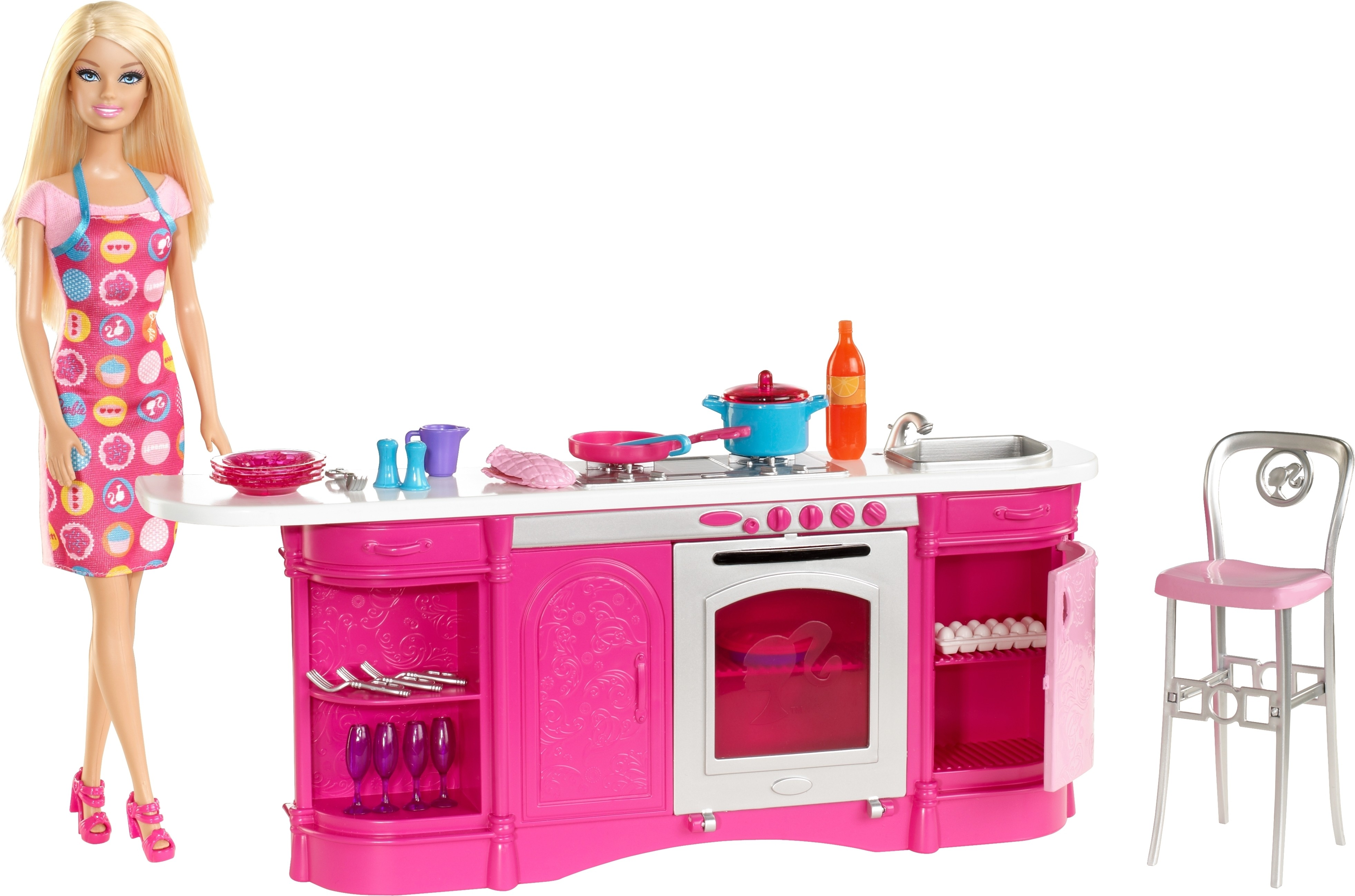 Barbie cooking fun kitchen cooking fun kitchen shop for Kitchen set doll
