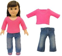 Pink Butterfly Closet Doll Clothes - 2 Piece Doll Clothing Set Fashion Jeans And Long Sleeve Shirt Fits American Girl Doll, My Life Doll, Our Generation And Other 18 Inch Dolls (Multicolor)