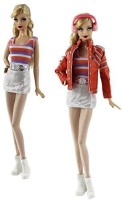 DLKJ178 7in1 Set Fashion Outfit Clothes Jacket+vest+skirt+earflaps+legging+belt+one Pairs Shoes For Barbie Doll (Pink)