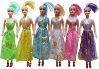 Tootpado Beautiful Girl Dolls As Fashion Diva (Pack Of 6) - Fun Holiday Toys For Kids (Multicolor)