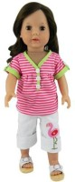 Sophia's 2 Pc.18 Inch Doll Clothing Striped Doll Shirt & Flamingo Capri's American Doll Clothes Outfit, Fits American Girl Dolls, Striped Shirt/Flamingo Capri Set (Pink)