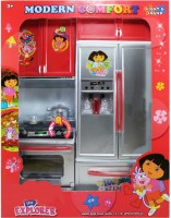 Tickles Modern Kitchen Battery Operated Play Set With Refrigerator + Cooktop + Oven + Cabinet And Accessories + Light And Sound (Silver)