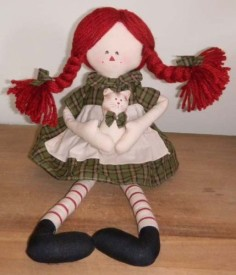 Delton Primitive Country Raggedy Ann Rag With Catgreen17