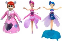 Dinoimpex Flying Fairy Dolls, Dance Princes With 3D Light Combo Pack (Pink, Blue)