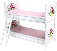 Sophia's 18 Inch Doll Bunk Bed, Doll Bedding, & Ladder Doll Furniture For American Girl Doll Bed Rooms & More! White With Hand Painted Flowers (Multicolor)