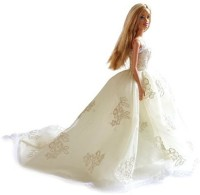 UNI Gifts Shop Princess Chapel Train Tulle Wedding Dress With Lace For Barbie Doll (Multicolor)