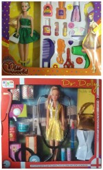 New Pinch Dolls & Doll Houses New Pinch combo of Miss World Doll With Make up Set & Dr.Dolly Doll First Aid Kit