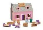 Melissa & Doug Dolls & Doll Houses Melissa & Doug Fold & Go Wooden Dollhouse