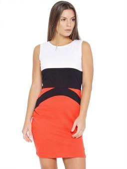 Veakupia Women's Fit And Flare White, Blue, Orange Dress