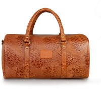 The Clownfish Unisex Ostrich Textured Synthetic Leather Duffle Bag 18 Inch/45 Cm Tan