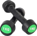 Proline Rubber Fixed Weight Dumbbell - Pack Of 2, 1 Kg Each