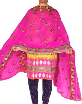 RED BIRD FASHION Faux Chiffon Embroidered Women's Dupatta