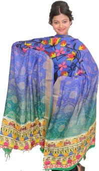 Exotic India Pure Silk Printed Women's Dupatta