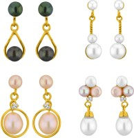 Jpearls Set Of 4 Yellow Gold Plated Cubic Zirconia, Pearl Alloy Earring Set