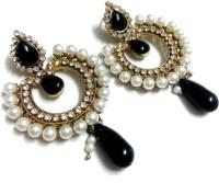 Glittering World Designer Black Stone And Pearl Alloy Chandbali Earring