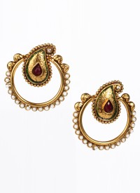 Glitters Toned Fancy Metal Dangle Earring