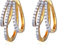 Alysa ES014408 Rhodium, 18K Yellow Gold Cubic Zirconia Alloy Hoop Earring