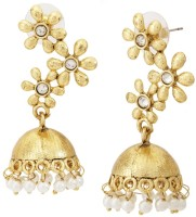 The Jewelbox Floral Pearl Copper Jhumki Earring