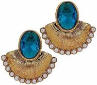 The Jewelbox Antique Fan Pearl Copper Stud Earring
