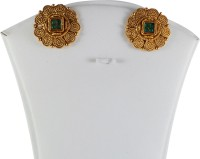 Samvardhan Jewellery Golden Ear Studs Decked With Green Stones Copper Stud Earring