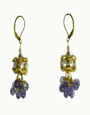 Alloy Rasaam Enamel Pearl Alloy Clip-On Earring (Violet)