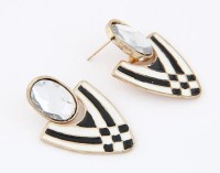 Cinderella Collection By Shining Diva White & Black Crystal Alloy Stud Earring