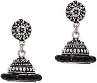 Jaipur Mart Oxidised Black Beads Silver Plated Alloy Jhumki Earring