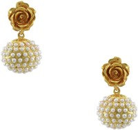 Orniza Victorian Earrings In Pearl Color With Antique Polish Brass Drop Earring