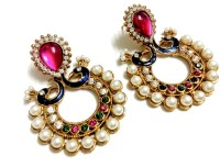 Glittering World Designer Gold Plated Peacock Style Pink & Green Stone Alloy, Enamel Chandbali Earring