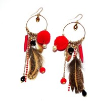 Purple Pink Red Pompom & Feather Chains & Multi Beaded Long Hoop Dangler Earring Zircon Metal Dangle Earring, Drop Earring