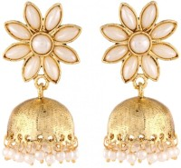 The Jewelbox Pearl Flower Jhumki Yellow Gold Copper Jhumki Earring