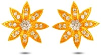 P.N.Gadgil Jewellers Sparkling Lotus 18K Yellow Gold Plated 18 K Diamond Gold Stud Earring