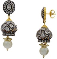 Pearls Cart Ad Stone Studded Peacock Theme Style Alloy Drop Earring - ERGEDKRQN7PY87JM
