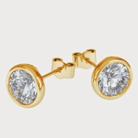 Aiza 18K Yellow Gold Plated 18 K Diamond Gold Stud Earring - ERGEYUXWGQGNZ7NG