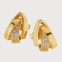 Aiza 18K Yellow Gold Plated 18 K Diamond Gold Stud Earring - ERGEYUXWG6G4D7WH